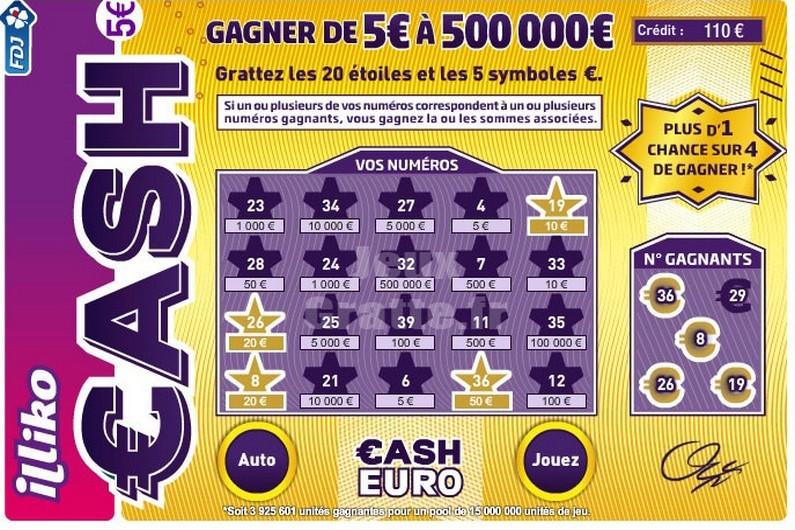 jeu à gratter cash fdj 1 chance sur 4 de gagner