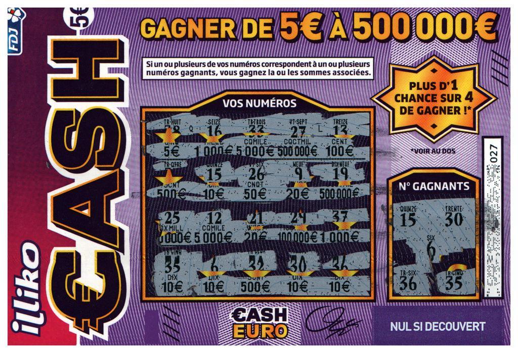 lettre gagnante cash Comment gagner au Cash FDJ ? Les chances de gagner. lettre gagnante cash