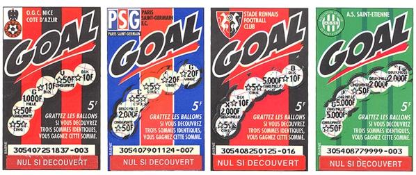 Tickets à gratter GOAL de 1995 : édition DIVISION 1 FFF