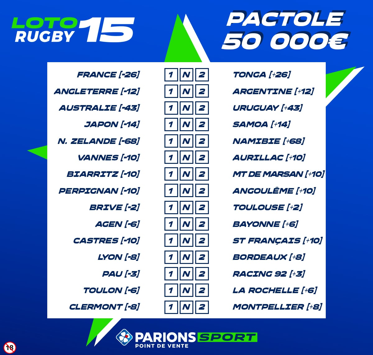 LOTO RUGBY Grille de 15