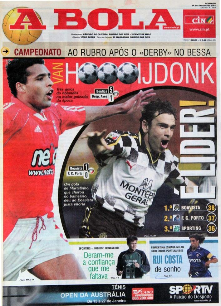Une du journal ABOLA - BOAVISTA premier du championnat portugais